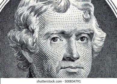 President Thomas Jefferson close-up portrait