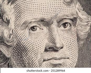 President Thomas Jefferson face on us two dollar bill closeup macro, united states money