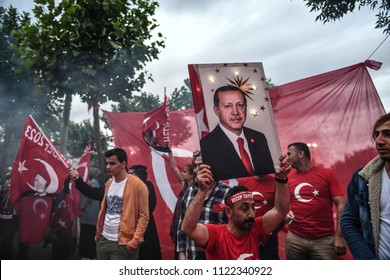 President of Turkey and the AKP government supporters, the leader Recep Tayyip Erdogan, won the presidential elections 14 JUNE 2018 istanbul atTurkey