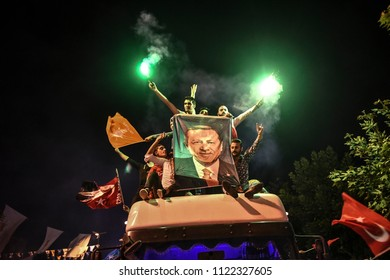 And the President of Turkey's ruling Justice and Development Party, or AKP supporters of the leader Recep Tayyip Erdogan, won the presidential elections24 JUNE 2018 istanbul at Turkey