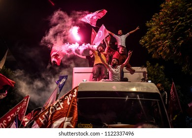 And the President of Turkey's ruling Justice and Development Party, or AKP supporters of the leader Recep Tayyip Erdogan, won the presidential elections 24 JUNE 2018 istanbul at Turkey