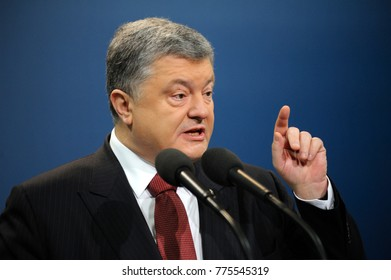 President of Ukraine Petr Poroshenko keeping speech during ceremony of giving judge robe to the chief of Supreme Court Valentina Danishevskaya. December 15, 2017. Kiev, Ukraine