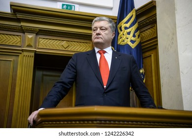 President of Ukraine Petro Poroshenko during an extraordinary Parliament session in Kyiv, Ukraine, on November 26, 2018.