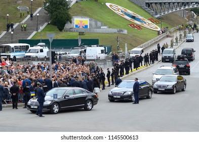 President of Ukraine Petro Poroshenko greeting Ukrainians, cars and bodyguards nearby. Military parade dedicated to Day of Independence of Ukraine. August 24, 2017. Kiev, Ukraine