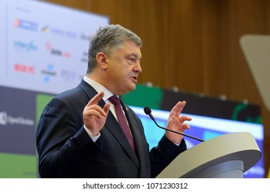 President of Ukraine Petro Poroshenko keeping speech during Kiev Security Forum-2018. April 12, 2018. Kiev, Ukraine