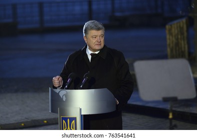 President of Ukraine Petro Poroshenko keeping speech during honouring the memory of Holodomor victims. Memorial to Holodomor victims. November 25, 2017. Kyiv, Ukraine
