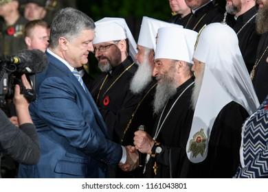 President of Ukraine Petro Poroshenko and Patriarch of Kyiv and All Rus' - Ukraine Filaret(L) and Metropolitan Onufriy (Ukrainian Orthodox Church (Moscow Patriarchate)) (C) in Kyiv, Ukraine.08-05-2017