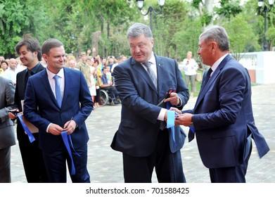 President of Ukraine Petro Poroshenko in Severodonetsk. At the grand opening of the restored building for the Lugansk Ukrainian Music and Drama Theater. August 22, 17.