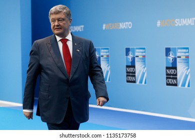 President of Ukraine Petro Poroshenko speaks to media upon his arrival on the second day of 2018 NATO Summit at NATO headquarters on July 12, 2018 in Brussels, Belgium.