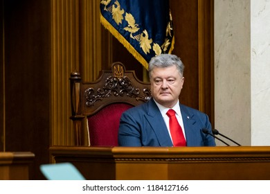President of Ukraine Petro Poroshenko speaks to the Parliament with an annual message. Kyiv, Ukraine. 20-09-2018