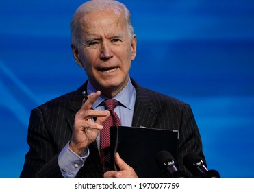 President-elect Joe Biden addressed the nation and unveiled his long-awaited COVID-19 economic relief stimulus package in a speech in Wilmington, Delaware,USA, Jan.11,2021.