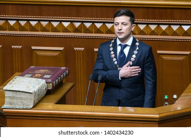 President-elect Volodymyr Zelensky  during his inauguration in the Ukrainian parliament in Kyiv, Ukraine, 20 May 2019.