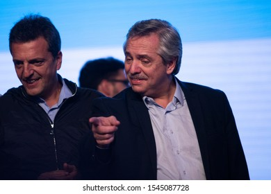 """Presidential candidate Alberto Fernandez gestures at the """"Frente de Todos"""" party headquarters during the Simultaneous and Mandatory Open Primaries (PASO) in Buenos Aires, Argentina on August 12, 2019."""