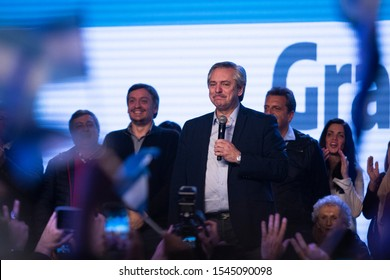 """Presidential candidate Alberto Fernandez speaks to his supporters at the """"Frente de Todos"""" party headquarters  in Buenos Aires, Argentina on August 12, 2019."""