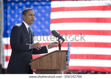 Presidential Candidate Barack Obama framed against American Flag at early vote for change Presidential rally, October 29, 2008 at Halifax Mall, Government Complex in Raleigh, NC