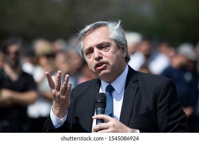 """Presidential candidate of Frente de Todos alliance Alberto Fernandez talks during a rally to present his strategy to reduce and eradicate famine called """"Argentina Contra el Hambre"""" (Argentina Against"""