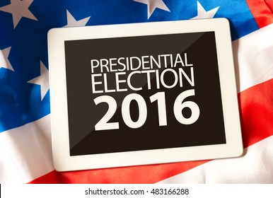 Presidential Election 2016 on tablet and the US flag