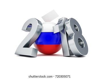 presidential election in russia 2018 on a white background 3D illustration, 3D rendering