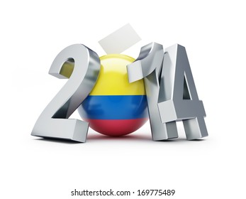 Presidential elections in Colombia 2014 on a white background