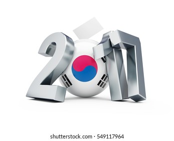 Presidential elections in the Republic of Korea in 2017. 3D illustration