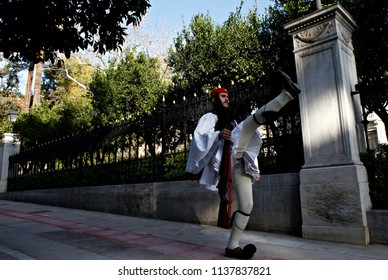 A Presidential guard performs in front of the Presidential Mansion in Athens, Greece on Jan. 4, 2015.