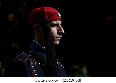 A Presidential guard stands  in front of the Presidential Mansion in Athens, Greece on Nov. 28, 2015.