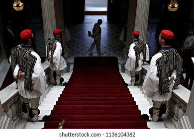Presidential guards stand inside the Presidential Mansion in Athens, Greece on May 17, 2016.