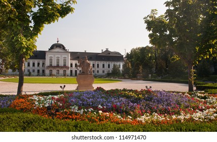Presidential Palace and garden behind it, photo taken in Bratislava, Slovakia.