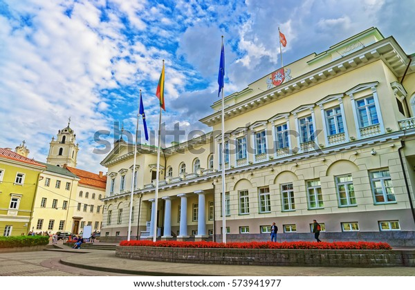 Presidential Palace at Vilnius old town, Lithuania. People on the background