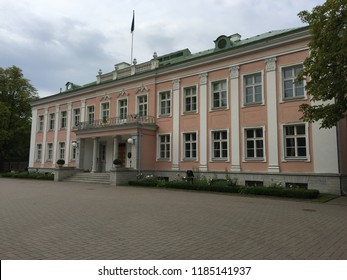 Presidential residence Kadriorg park, Tallinn /Estonia - september 2018:  Facade of presidential residence, autumn day