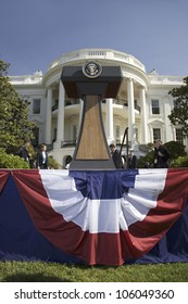 Presidential Seal on podium in front of the South Portico of the White House, the Truman Balcony, in Washington, DC on May 7, 2007