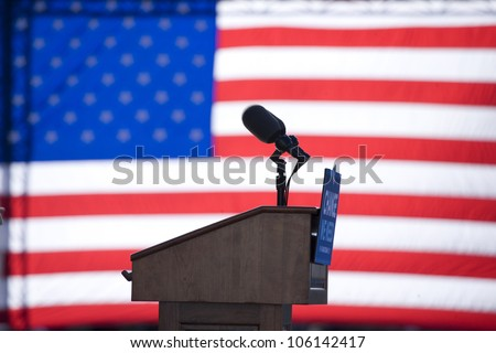 Presidential speakers podium for Barack Obama at early vote for change rally October 29, 2008 at Halifax Mall, Government Complex in Raleigh, NC