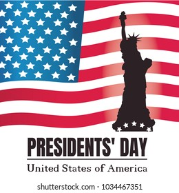 Presidents day background. Statue of Liberty and American flag.