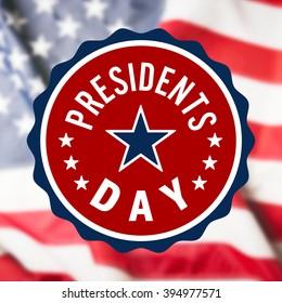 Presidents Day sign on USA flag background