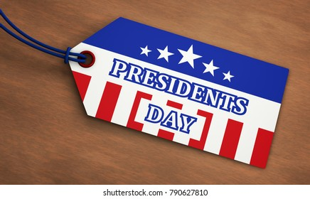Presidents Day USA federal holiday sale concept with American flag colors and sign on a paper label tag 3D illustration.