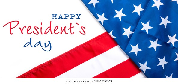 Presidents Day USA flag background greeting card Happy Presidents Day greeting card, flyer, banner, poster with american flag with stars and ribbon.Presidents day holiday USA. Patriotic calligraphy