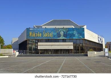PRESOV, SLOVAKIA – OCTOBER 1, 2017: Jonas Zaborsky Theater of Presov. Presov is a city in Eastern Slovakia. It is a seat of the administrative Presov Region and Saris.