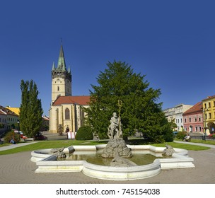 PRESOV, SLOVAKIA - OCTOBER 1, 2017: Neptune Fountain and Cathedral of Saint Nicholas in Presov. Presov is a city in Eastern Slovakia. It is a seat of the administrative Presov Region and Saris