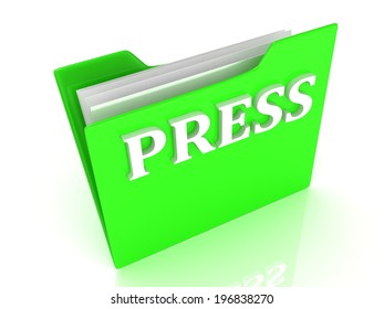 PRESS bright gold letters on a green folder on a white background