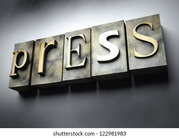 Press concept, 3d vintage letterpress text