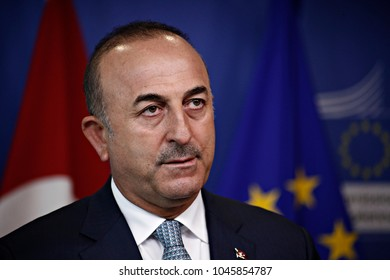 Press conference after the High-Level Political Dialogue meeting between the European Union and Turkey in Brussels, Belgium on Jul. 25, 2017.