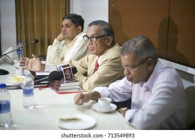 A press conference of a book release function at The Press Club, Mahapalika Marg, Azad Maidan, Fort, Mumbai, Maharashtra, India. Shot in June 2017.