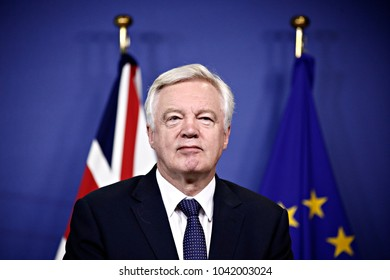 Press conference by Britain's Secretary of State for Exiting the European Union David Davis at the European Commission in Brussels on Jul. , 2017
