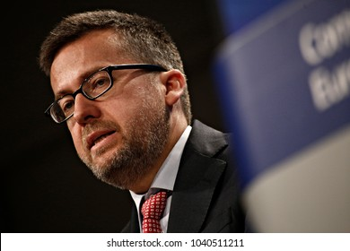 Press conference by Commissioner Carlos Moedas on the report on the role of research and innovation for Europe's future in Brussels, Belgium on Jul. 3, 2017