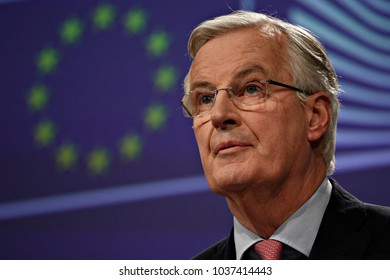 Press conference by European Chief Negotiator for the United Kingdom Exiting the European Union Michel Barnier in Brussels, Belgium on Feb. 9, 2018.