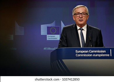 Press conference by European Commission President Jean-Claude Juncker on the institutional affairs and the Multiannual Financial Framework after 2020 in Brussels, Belgium on Feb. 14, 2018.