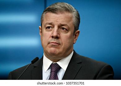 Press conference by Giorgi Kvirikashvili Prime Minister of Georgia at the European Union headquarters in Brussels, Belgium on Feb. 05, 2018.
