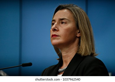 Press conference by  High Representative of the European Union for Foreign Affairs and Security Policy Federica Mogherini  at the European Union headquarters in Brussels, Belgium on Feb. 05, 2018.