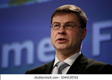 Press conference by Valdis Dombrovskis, Vice-President of the European Commission in Brussels, Belgium on Mar. 23, 2017