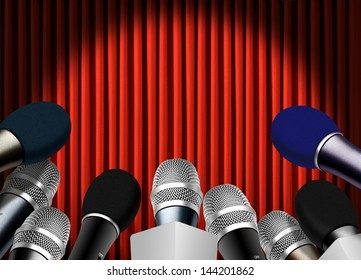 Press conference with microphones over red curtain